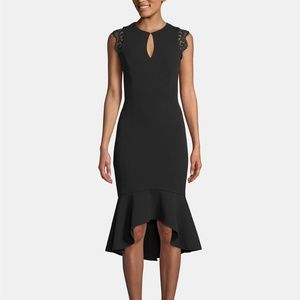 Betsy & Adam Keyhole Lace-Flounce Midi Dress Black